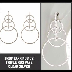 Drop Earrings CZ Triple Ros Pave - Clear Silver